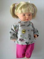 Orchidee-Puppen ohne Puppe Puppenmode v nur Kleid+Schürze+Entenkorb 50cm